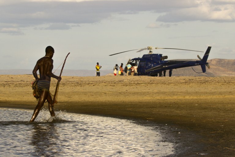 El Molo Fisherman and our helicopter (Photo credit- Lorna Buchanan-Jardine)