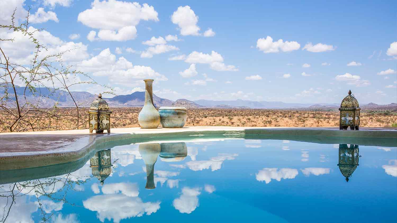 Plunge into the pool at sasaab on your kenya luxury safari